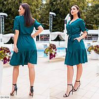 Платье-рубашка женское летнее трапеция по колено с поясом большие размеры батал 48-54 арт.3016