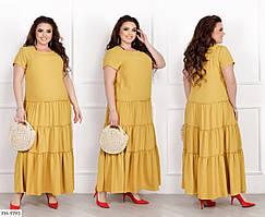 Длинное платье в пол свободного кроя с коротким рукавом большие размеры р-ры 46-60 арт.  198