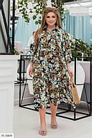 Красивое приталенное платье-рубашка миди р-ры 50-60 арт. 71053/1