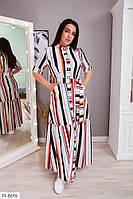 Длинное платье в пол летнее на пуговицах с поясом большие размеры 50-64 арт.  8355