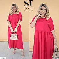 Довга сукня жіноча літній вільного крою з легкого штапелю великі розміри 48-58 арт. 1217