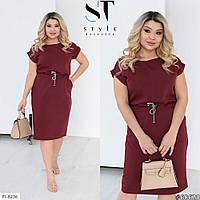 Зручне повсякденне плаття з кулісою на талії за коліно для прогулянок великі розміри 48-58 арт.288