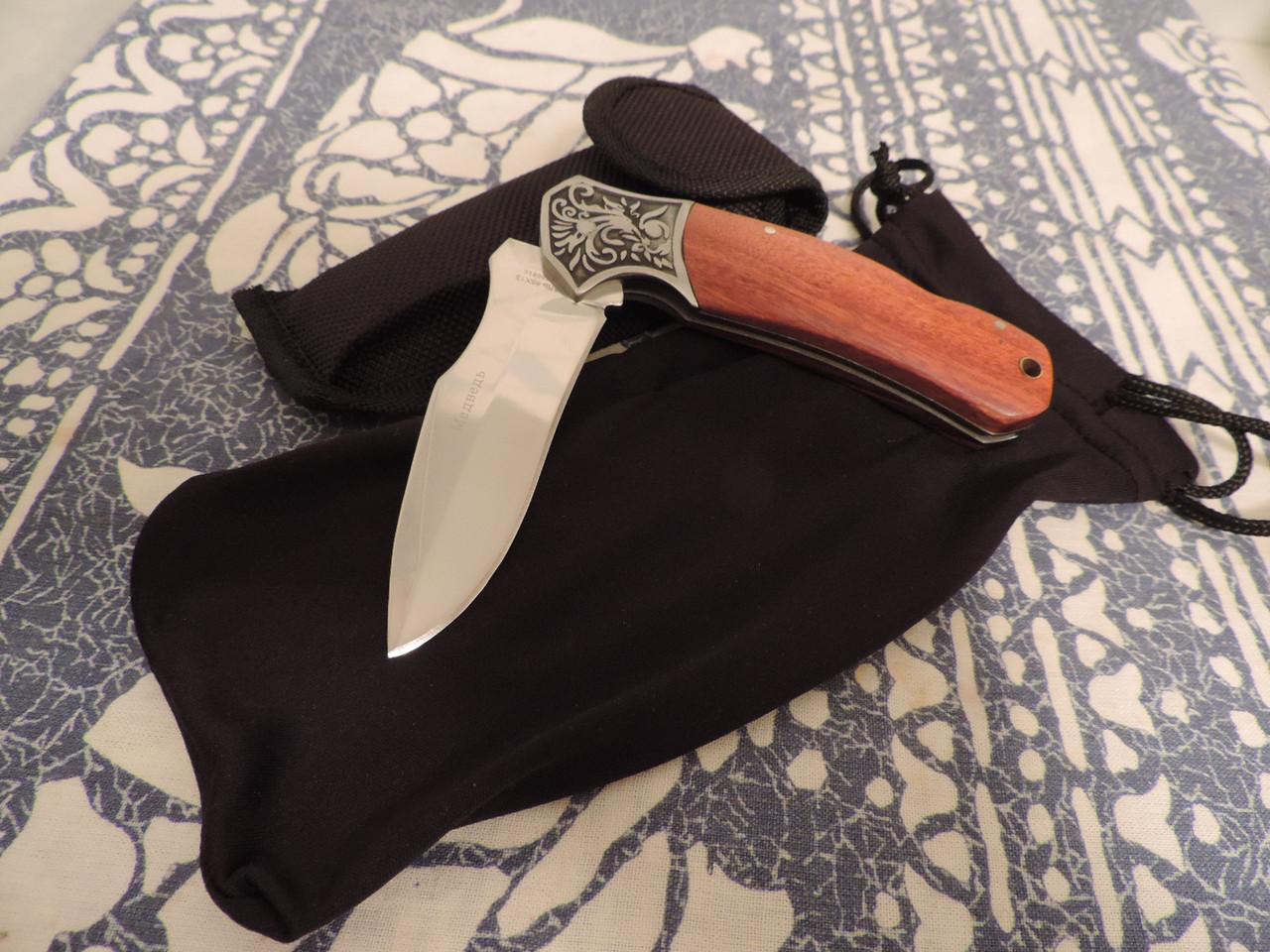 """Нож складной - охотничий / туристический """"Медведь"""". Булатная сталь. Палисандровая рукоятка."""