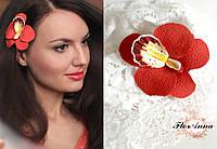 """""""Оранжевая орхидея"""" заколка для волос ручной работы, фото 1"""