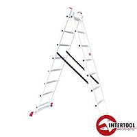 Лестница алюминиевая 2-х секционная универсальная раскладная 2*8ступ. 3.69м Intertool LT-0208