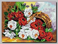 """Схема для полной вышивки бисером """"Розы в лукошке"""""""