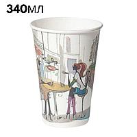 "Стакани паперові 340 мл, ""№34 Дама в кафе"" (Маестро), 50 шт/пач"