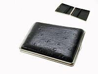 Портсигар 902251(80105) д. 18 KS сигарет, кожа страус черн/никель, резинка