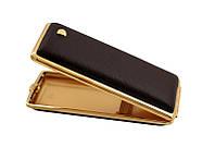 Портсигар 904159 д. 14 Super KS сигарет, кожа матовая коричневая/золото