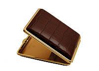 Портсигар 901149 д. 18 KS сигарет, кожа Dino коричневая/золото, резинка