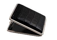 Портсигар 901341 д. 18 KS сигарет, кожа Dino черная/никель, резинка