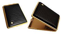 Портсигар 902131 д. 18 KS сигарет, кожа кроко (Eid) черн/золото, резинка