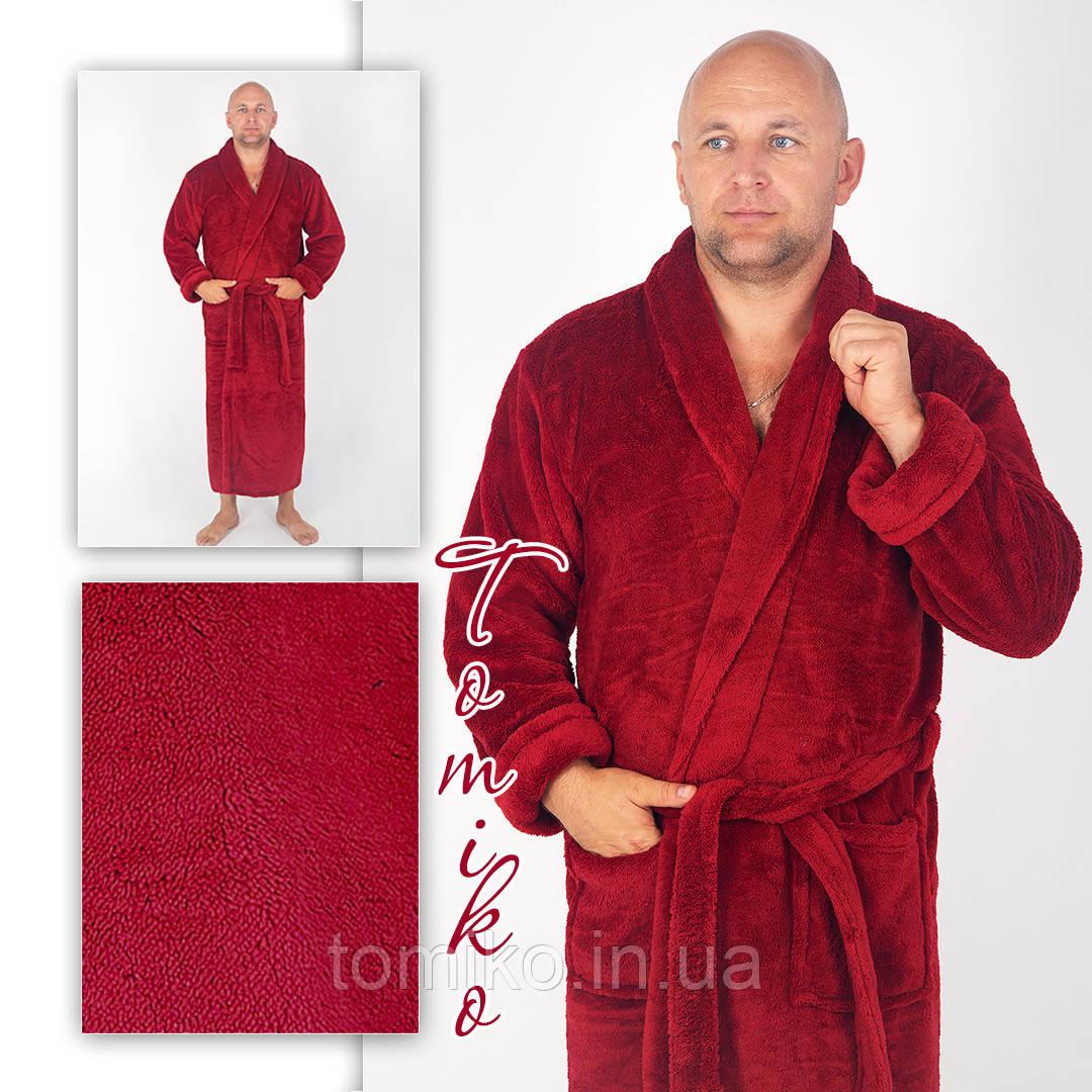 Халат мужской махровый шаль бордо. Халат чоловічий махровий шаль бордо.  52-60.