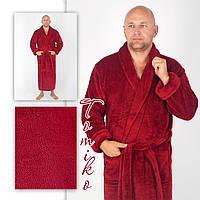 Халат мужской махровый шаль бордо. Халат чоловічий махровий шаль бордо.  52-60., фото 1