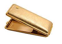 Портсигар 904164 д. 14 Super KS сигарет, кожа золотистая/золото, резинка