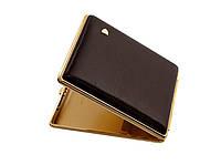 Портсигар 903129 д. 22 Super KS сигарет, кожа цвет табак.гладкая/золото, резинка