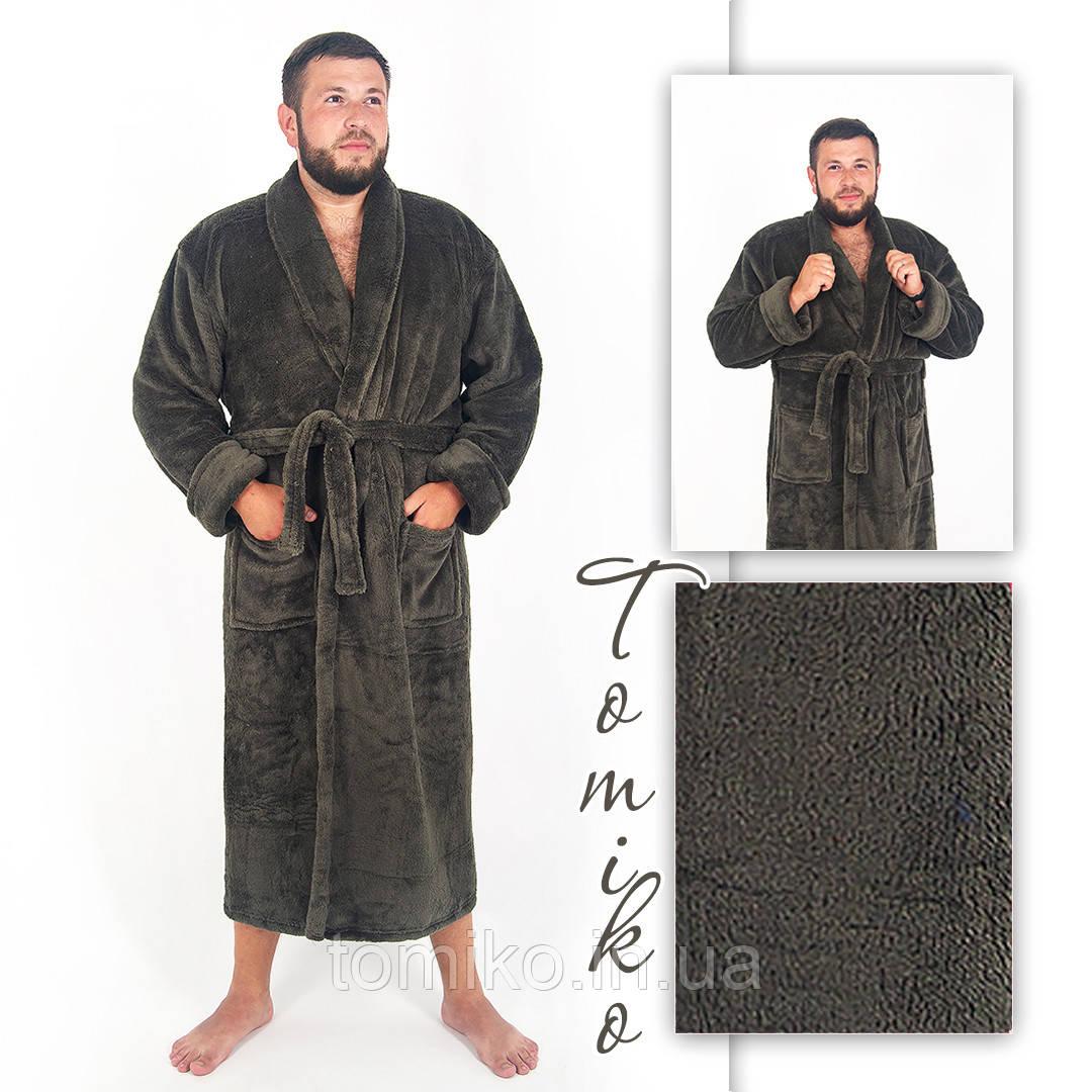Халат чоловічий махровий шаль хакі. Халат чоловічий махровий шаль хакі. 52-60.