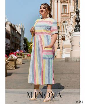 Льняное летнее платье в полоску большой размер 50-52 54-56 58-60 62-64, фото 2