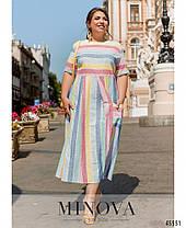Льняное летнее платье в полоску большой размер 50-52 54-56 58-60 62-64, фото 3