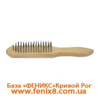 Щетка с деревянной ручкой 4 ряда стальная проволока, Spitce 18-001