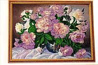 Картина вышитая бисером Пионы