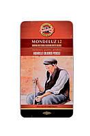 Акварельные цветные карандаши Mondeluz 12 цветов металлической упаковке Koh-i-Noor