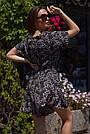 Комбинезон летний с шортами черный с цветочным принтом, фото 3