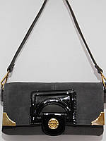 Замшевый клатч с длинным ремешком, кружева серый, фото 1
