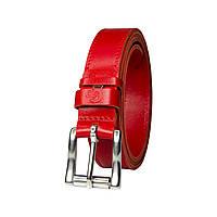 Шкіряний ремінь, червоний, ширина 25 мм