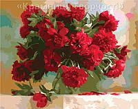 """Картина по номерам на холсте """"Красные пионы"""", 40х50см. (КН1133)"""