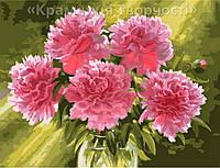 "Картина по номерам на холсте ""Розовые пионы в вазе"", 40х50см. (КН1119)"