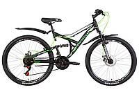 """Велосипед 26"""" Discovery CANYON DD 2021 (черно-зеленый с белым (м))"""