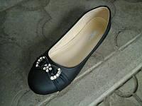 Балетки женские  - туфли чёрные с бантиком в стразах  BAL 201608