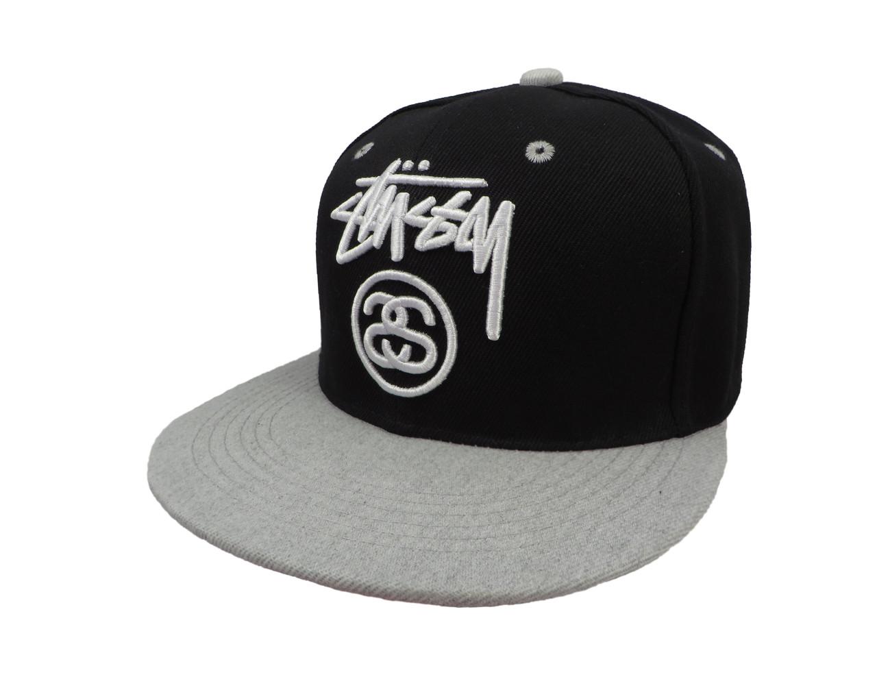 Черная кепка Stussy с серым козырьком (реплика)