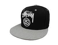 Черная кепка Stussy с серым козырьком