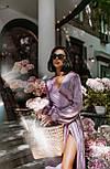 Длинное платье на запаха в мелкий принт летнее приталенный с длинным рукавом (р. S-M) 66032706Q, фото 3