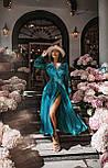 Длинное платье на запаха в мелкий принт летнее приталенный с длинным рукавом (р. S-M) 66032706Q, фото 2