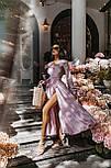 Длинное платье на запаха в мелкий принт летнее приталенный с длинным рукавом (р. S-M) 66032706Q, фото 5