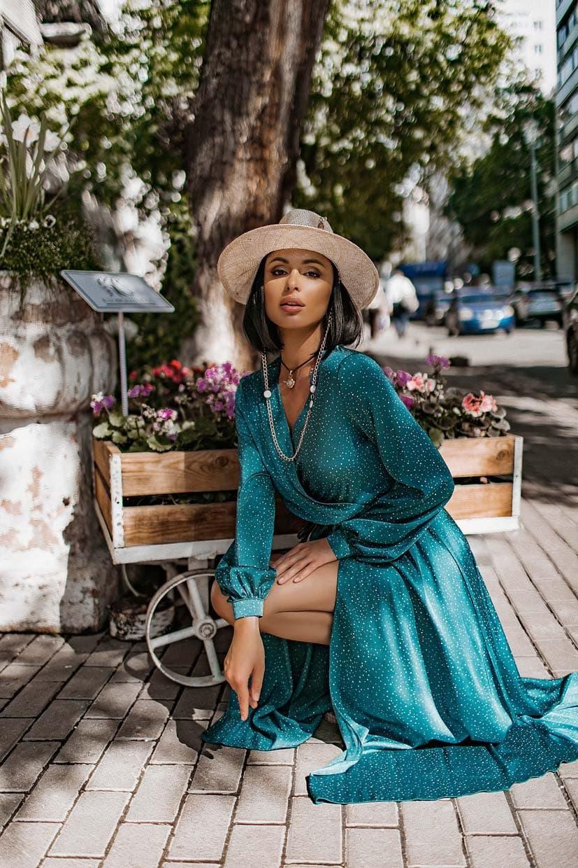 Длинное платье на запаха в мелкий принт летнее приталенный с длинным рукавом (р. S-M) 66032706Q