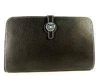 Клатч - кошелек кожаный женский черный Нermes 536