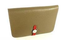 Клатч - кошелек кожаный женский серый Нermes 536