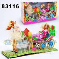 Карета с лошадью, куклой Барби, в коробке  522919см
