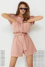 Комбінезон жіночий літній з шортами лляний пудровий, фото 2