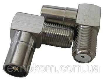 Штекер металлический антенный угловой
