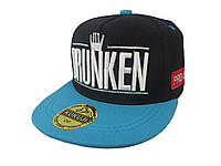 Черная кепка DRUNKEN с голубым козырьком