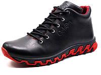 Мужские ботинки зимние кожаные Gekon Dynamique 20BTM на меху черные/красная подошва, р. 40