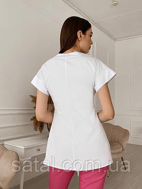 """Куртка медична """"Саті"""". Білий. Рукав короткий. Саталь, фото 2"""