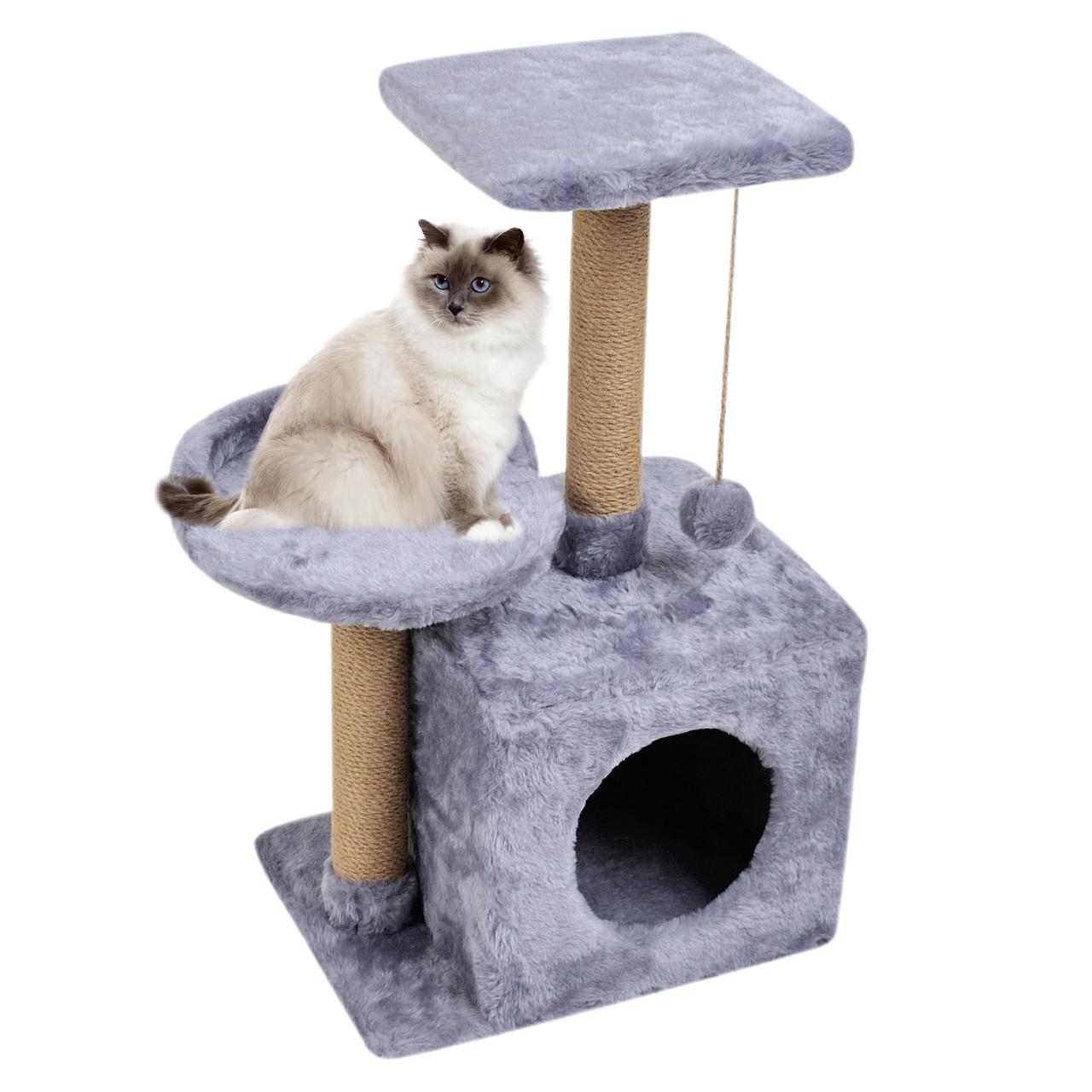 Домик-когтеточка с полкой Бусинка 43х33х75 см (дряпка) для кошки Серый