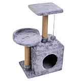 Домик-когтеточка с полкой Бусинка 43х33х75 см (дряпка) для кошки Серый, фото 2