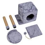 Домик-когтеточка с полкой Бусинка 43х33х75 см (дряпка) для кошки Серый, фото 3